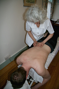 Karen Swirsky Chiropractor during a therapy session